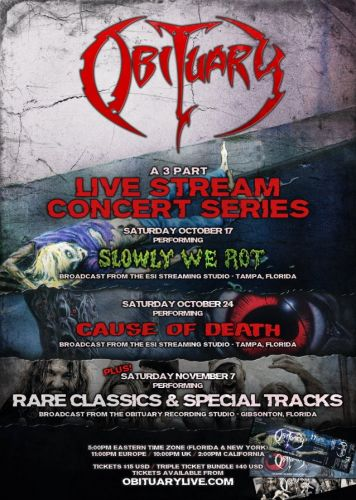 OBITUARY To Perform 'Slowly We Rot' And 'Cause Of Death' In Full As Part Of Live Stream Concert Series