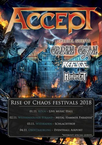 ACCEPT To Headline 'Rise Of Chaos' Festivals In Germany