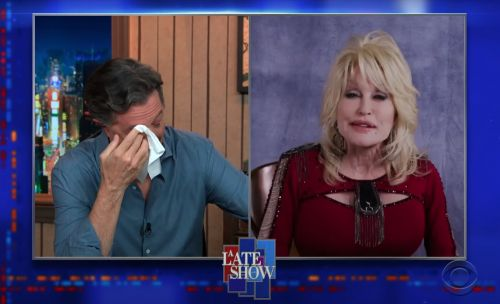 Watch Dolly Parton Sing To Stephen Colbert And Make Him Cry