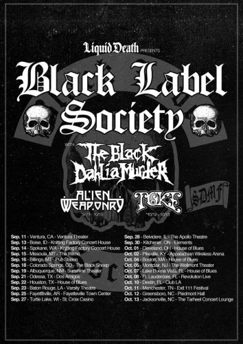 Black Label Society announce fall 2019 North American tour with The Black Dahlia Murder and Alien Weaponry