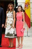 Melania Trump Chose a Valentino Dress For Her Visit With King Felipe and Queen Letizia