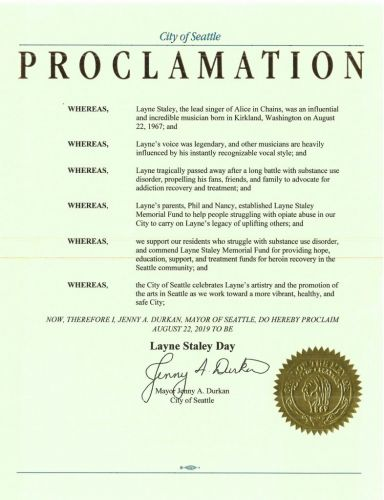 Seattle mayor declares August 22nd, 2019, as Layne Staley Day