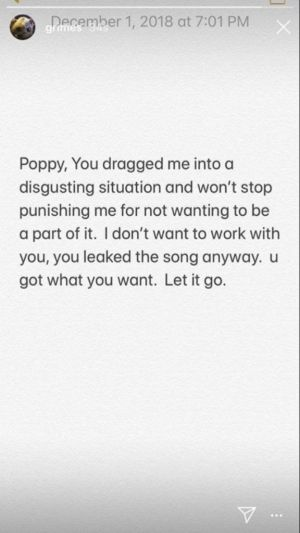 "Grimes responds to Poppy's accusations of ""bullying"""