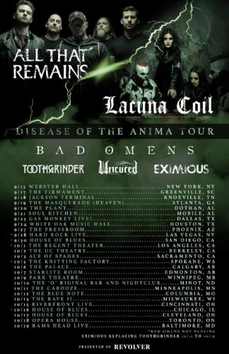LACUNA COIL And ALL THAT REMAINS Announce 'Disease Of The Anima' Summer/Fall North American Tour
