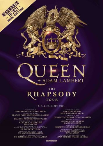 QUEEN + ADAM LAMBERT Postpone European Tour; Rescheduled Dates For 2021 Announced
