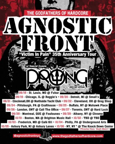 AGNOSTIC FRONT Announces Summer/Fall North American Tour With PRONG