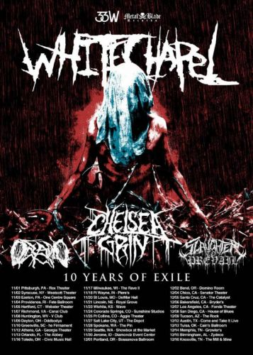 WHITECHAPEL Announces 'Ten Years Of Exile' Tour With CHELSEA GRIN, OCEANO, SLAUGHTER TO PREVAIL