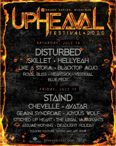 DISTURBED And STAIND To Headline UPHEAVAL FESTIVAL In West Michigan