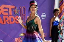Janelle Monae Celebrates Pride Month in a Gorgeous Rainbow Dress at the 2018 BET Awards